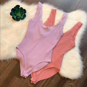Set of Forever 21 ribbed bodysuits